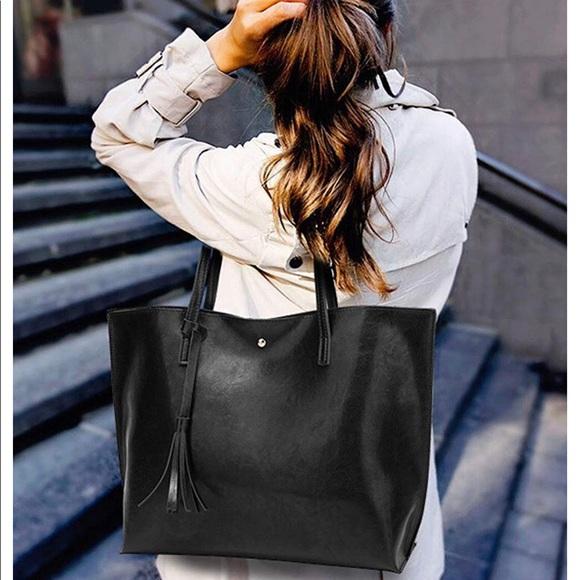 Handbags - Black Women's Soft Leather Tote Shoulder Bag